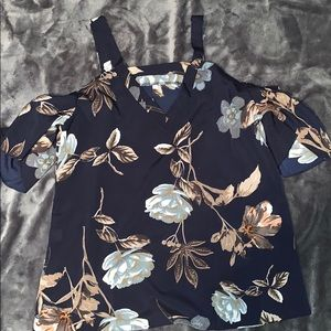 Tops - 3/$25 floral cold shoulder shirt